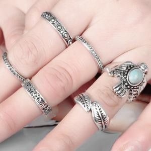 A Suit of Retro Faux Turquoise Dove Leaf Carving Rings - SILVER ONE-SIZE