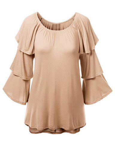 Outfits Charming Solid Color Layered 3/4 Sleeve Flounced T-Shirt For Women