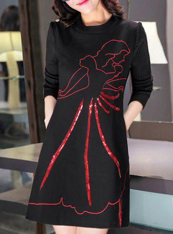 Trendy Stylish Round Neck Long Sleeve Printed Knitted Dress For Women