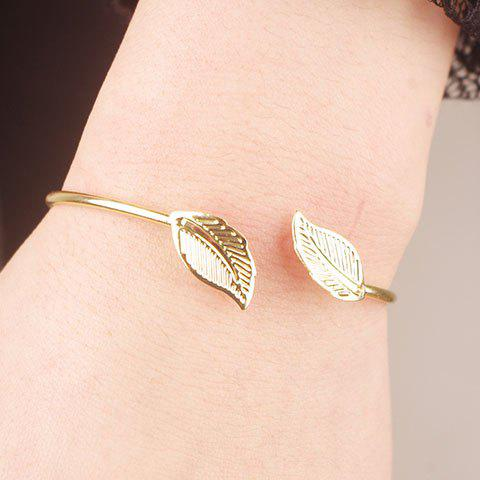 Affordable Alloy Leaf Cuff Bracelet GOLDEN