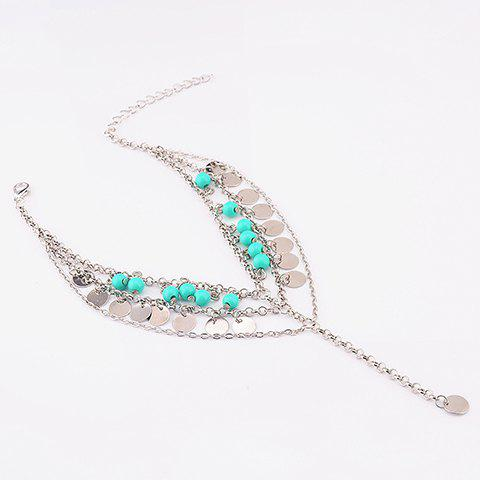 Buy Bohemian Style Beads Sequins Pendant Belly Dance Anklet SILVER