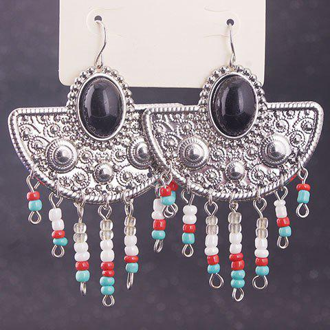 New Pair of Vintage Exaggerated Faux Gemstone Geometric Beads Earrings For Women
