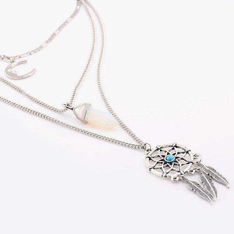 Chic Graceful Faux Turquoise Moon Feather Shape Pendant Sweater Chain For Women - SILVER  Mobile