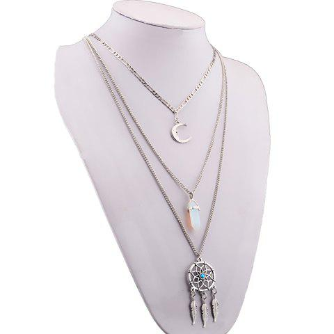 Shops Graceful Faux Turquoise Moon Feather Shape Pendant Sweater Chain For Women - SILVER  Mobile