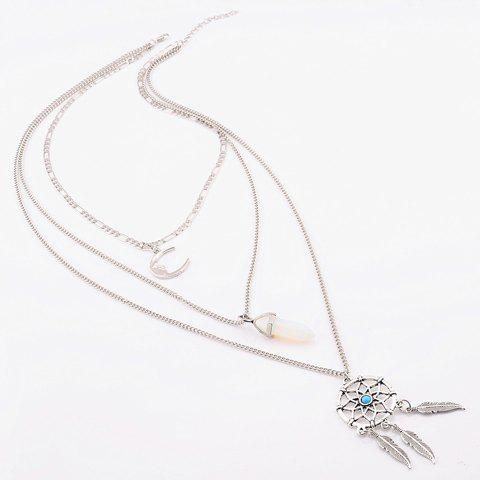 Sale Graceful Faux Turquoise Moon Feather Shape Pendant Sweater Chain For Women - SILVER  Mobile