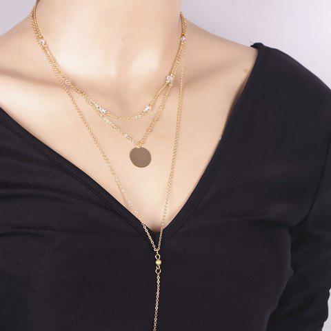 Best Layered Faux Crystal Bar Pendant Necklace GOLDEN