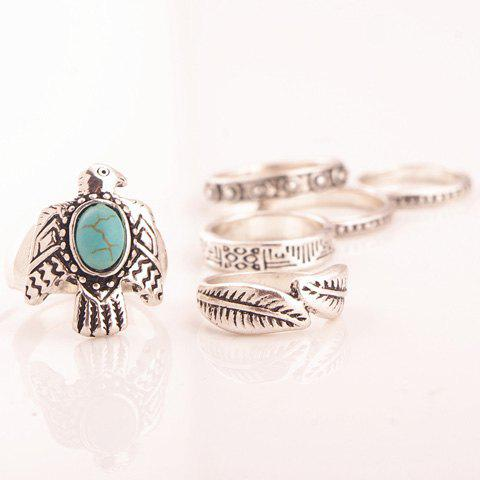Shop A Suit of Retro Faux Turquoise Dove Leaf Carving Rings
