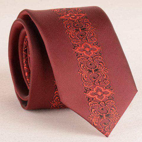 Discount Stylish Retro Palace Jacquard Middle 6CM Width Wine Red Tie For Men WINE RED