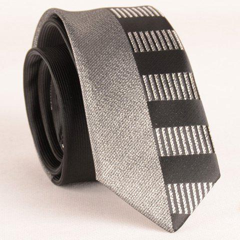 Shops Stylish Silver Thread Wide Stripe Pattern 6CM Width Black Tie For Men BLACK
