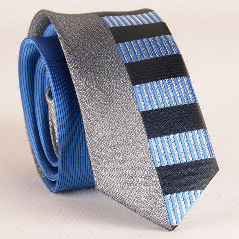 Sale Stylish Silver Thread Wide Stripe Pattern 6CM Width Sapphire Blue Tie For Men