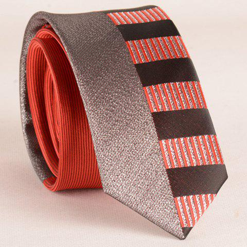 New Stylish Silver Thread Wide Stripe Pattern 6CM Width Red Tie For Men