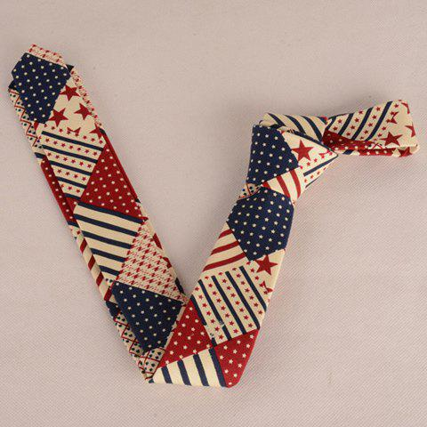 Hot Stylish Star and Stripe Pattern Patchwork 5CM Width Tie For Men - COLORMIX  Mobile