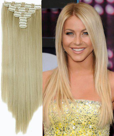 Unique Ladylike High Temperature Fiber Straight Clip-In Long Hair Extensions GOLDEN