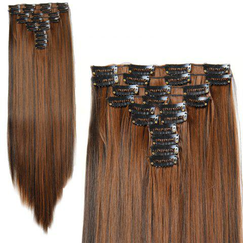 Best Fashion High Temperature Fiber Straight Clip-In Long Hair Extensions For Women COLORMIX