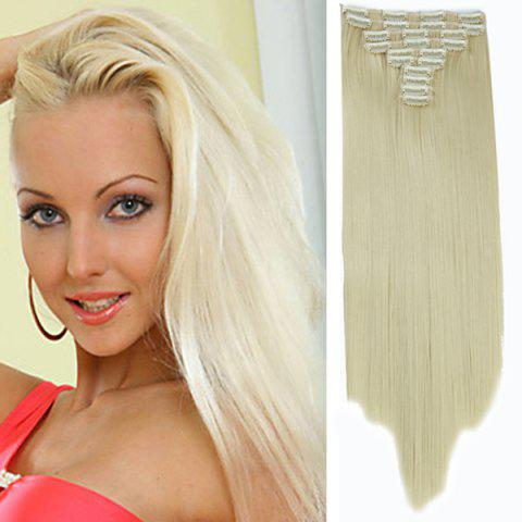 Cheap Trendy High Temperature Fiber Long Straight Hair Extensions For Women