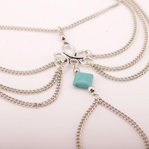 Discount Gothic Style Square Fake Turquoise Multilayered Anklet - SILVER  Mobile