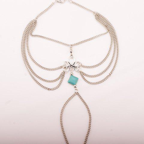 Chic Gothic Style Square Fake Turquoise Multilayered Anklet SILVER