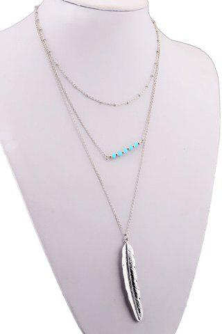 Discount Multilayered Metal Feather Beads Chain Pendant Necklace SILVER