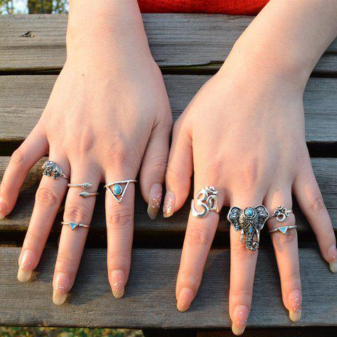 Hot A Suit of Graceful Faux Turquoise Elephant Triangle Hollow Out Rings For Women