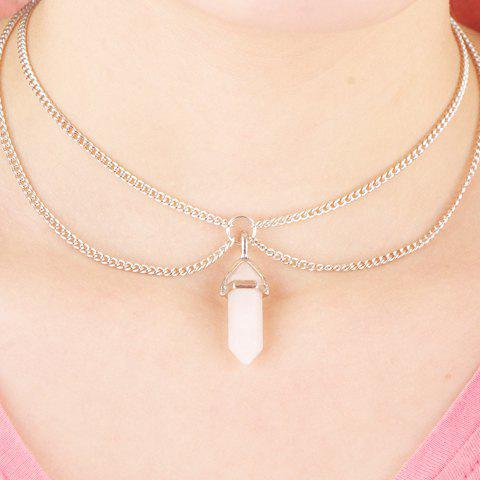 Bullet Faux Crystal Pendant Two Layered Link Chain Necklace - White