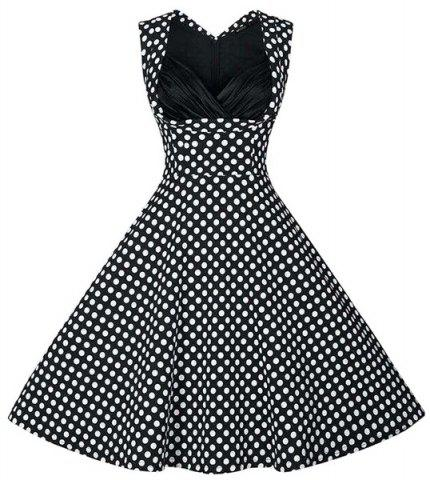Outfits Retro Style Sweetheart Neck Polka Dot Print Dress For Women