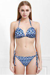 Chic Chevron Printed Halter Bikini Suit For Women