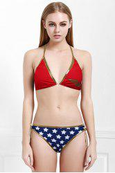 Halter Star Pattern Women's Bikini Set - RED L