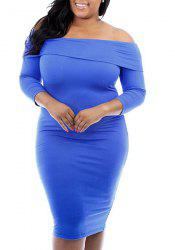 Sexy Off-The Shoulder 3/4 Sleeve Pure Color Bodycon Women's Dress -
