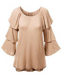 Charming Solid Color Layered 3/4 Sleeve Flounced T-Shirt For Women -