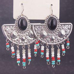 Pair of Vintage Exaggerated Faux Gemstone Geometric Beads Earrings For Women -