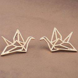 Pair of Retro Paper Crane Hollow Out Earrings - GOLDEN