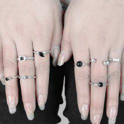 A Suit of Retro Punk Faux Gemstone Rhinestone Rings For Women -