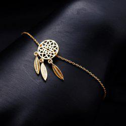 Round Feather Hollow Out Pendant Bracelet