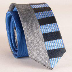 Stylish Silver Thread Wide Stripe Pattern 6CM Width Sapphire Blue Tie For Men -