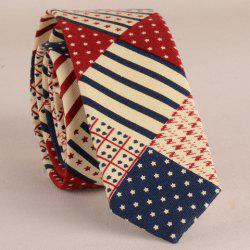 Stylish Star and Stripe Pattern Patchwork 5CM Width Tie For Men -