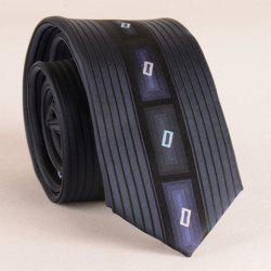 Stylish Latticed Jacquard Vertical Stripe Pattern Tie For Men - CADETBLUE