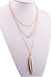 Multilayered Metal Feather Beads Chain Pendant Necklace
