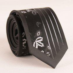 Stylish Leaf and Vertical Stripe Jacquard Black Tie For Men