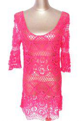 Cut Sexy Low Cut Out manches 3/4 Cover Up Women - Rose