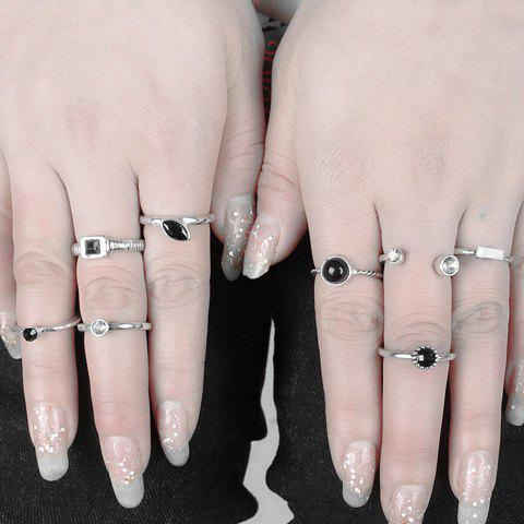 Store A Suit of Retro Punk Faux Gemstone Rhinestone Rings For Women