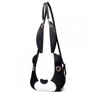 Cute Bunny Shape and Color Block Design Satchel For Women - WHITE AND BLACK