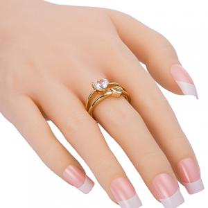 Exquisite Rhinestone Heart Shape Two-Layered Ring For Women -
