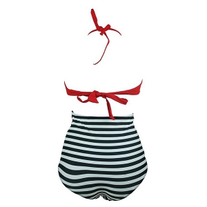 High Waisted Striped Bikini Swimwear With Halter Top - RED S