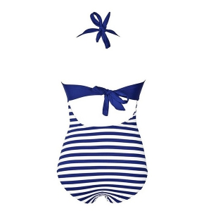 Halter Buttoned One-Piece Striped High Waisted Swimsuit - PURPLISH BLUE S