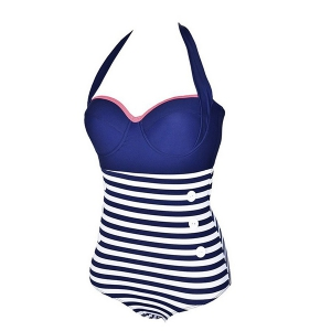 Halter Buttoned One-Piece Striped High Waisted Swimsuit -