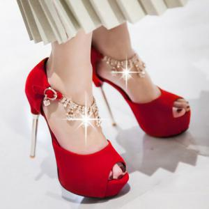 Fashionable Rhinestones and Stiletto Heel Design Peep Toe Shoes For Women - RED 39