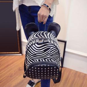 Stylish Zebra-Stripe and Rivets Design Satchel For Women -