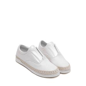 Casual Weaving and Elastic Design Flat Shoes For Women -