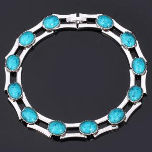 Oval Faux Turquoise Bamboo Bracelet -