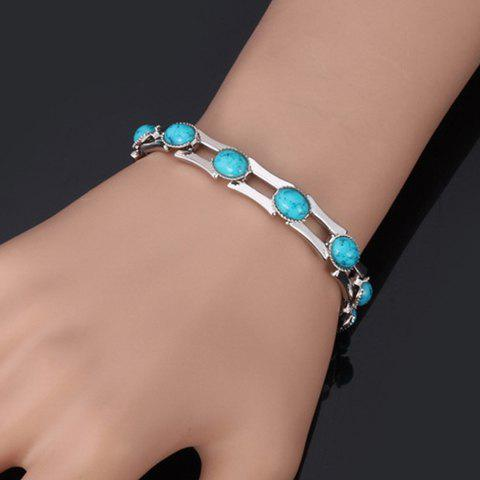 Store Oval Faux Turquoise Bamboo Bracelet
